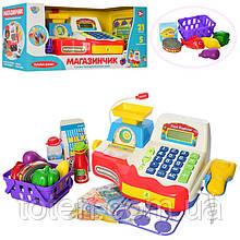 Кассовый аппарат 16 предметов с чеком. Сканер,калькулятор, весы, микрофон, монеты, продукты 7162