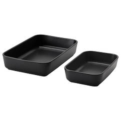 IKEA ЛЮККАД (004.644.29) Блюдо/форма для духовки, 2 шт, темно-сірий