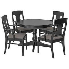 IKEA ІНГАТОРП / ІНГАТОРП (092.521.97) Стіл+4 стільці, чорний 110/155 см