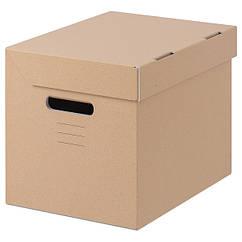 IKEA ПАППІС (001.004.67). Коробка з кришкою  - коричнева 25x34x26 см