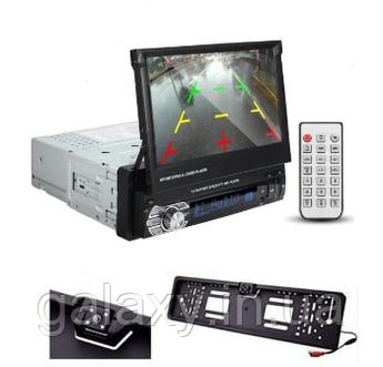 Автомагнитола выдвижная c камерой в Led рамке номера 6600