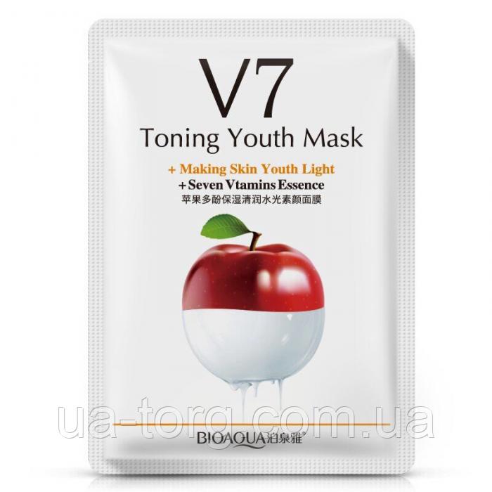 Тканевая витаминная маска для лица Bioaqua v7 toning youth mask Яблоко