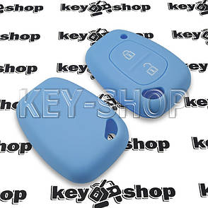 Чехол (синий, силиконовый) для авто ключа Nissan (Ниссан) 2 кнопки, фото 2