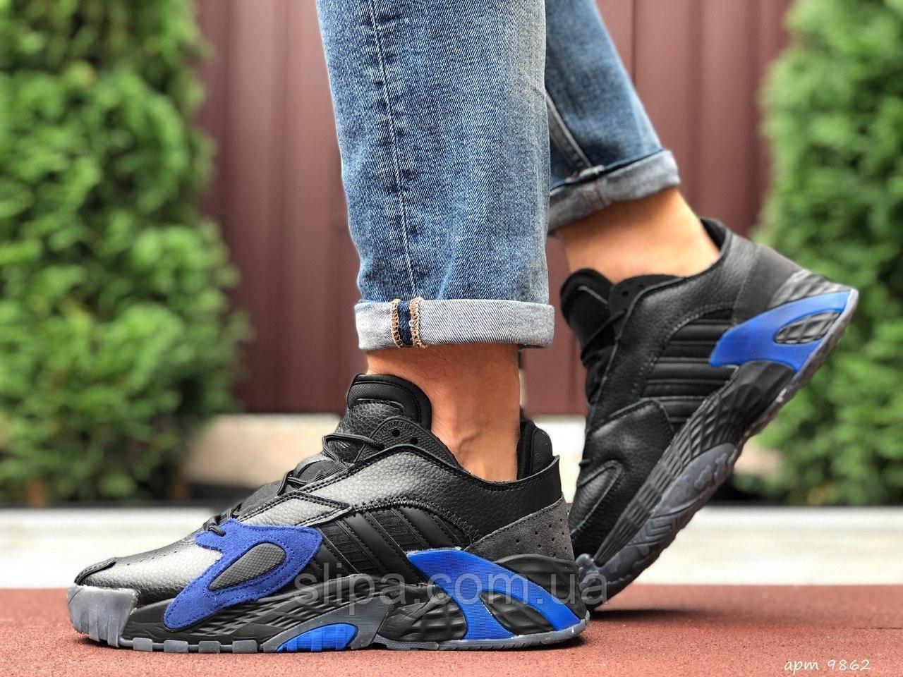 Чоловічі кросівки Adidas Streetball чорні з синім