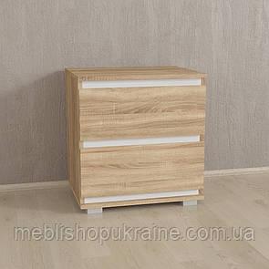 Прикроватная тумба на два ящика Корпус-Сонома / Фасад-Сонома / Планки-Белые