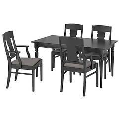 IKEA INGATORP / INGATORP (092.407.79) Стіл+4 стільці, чорний 155 см