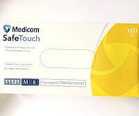 Перчатки виниловые, смотровые, неопудренные, нестерильные Medicom Safe Touch размер M, фото 1