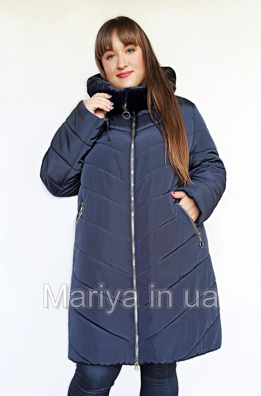 Зимова жіноча куртка великі розміри від 56 до 70