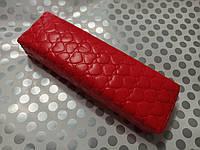 Подлокотник для маникюра подушка из кожзама сердце красное