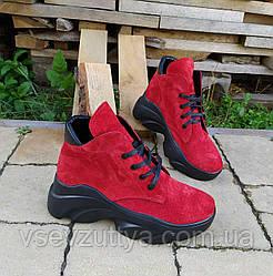 Ботинки женские красные натуральная замша 36