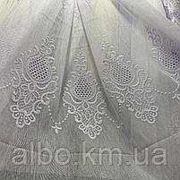 Красивый белый тюль из льна с вышивкой на метраж, высота 3 м, фото 4