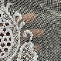 Красивый белый тюль из льна с вышивкой на метраж, высота 3 м, фото 5