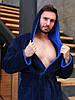 Халат мужской махровый Темно-Синий/Голубой, фото 2