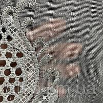 Красивый кремовый тюль из льна с вышивкой кремового и серого  цвета на метраж, высота 3 м, фото 5