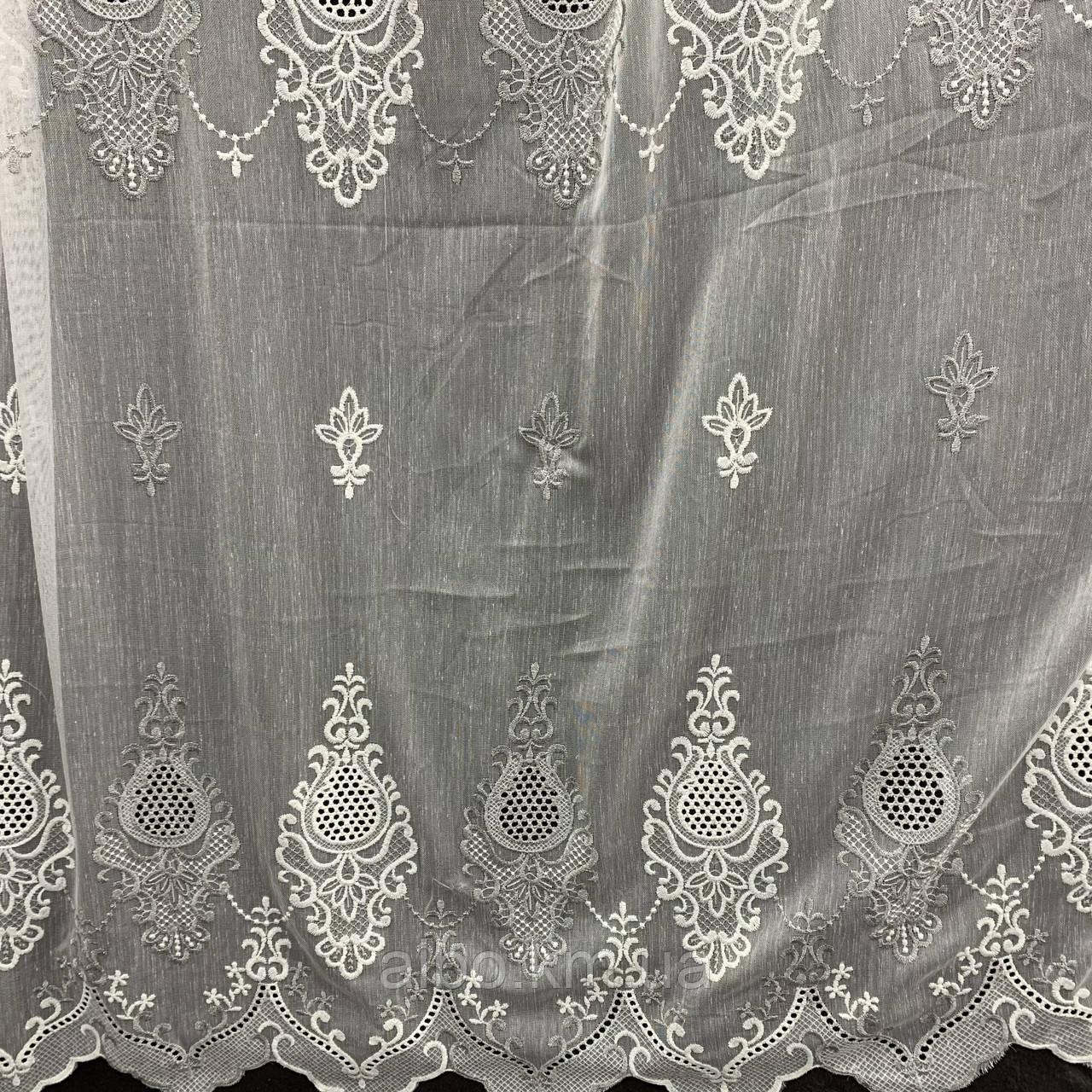 Красивый кремовый тюль из льна с вышивкой кремового и серого  цвета на метраж, высота 3 м