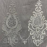 Красивый кремовый тюль из льна с вышивкой кремового и серого  цвета на метраж, высота 3 м, фото 3