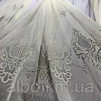 Красивый кремовый тюль из льна с вышивкой кремового и серого  цвета на метраж, высота 3 м, фото 4