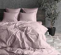 """Комплект постельного белья полуторный из сатина ТМ """"Ловец снов"""", Страйп сатин розовый"""