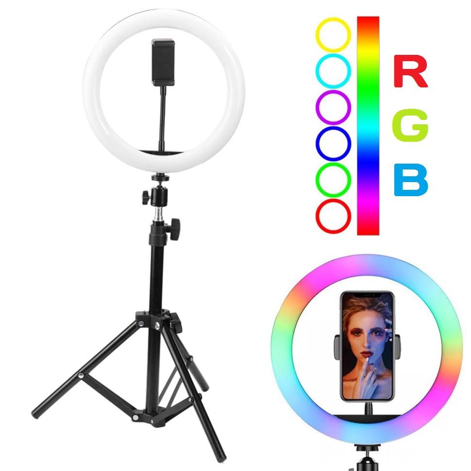 Кільцева світильник лампа RGB Ring Light LED MJ 33 для смартфона зі штативом-стійкою селфі