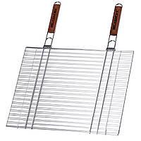 Решетка BQ-75 Кемпинг с 2 ручками двойная хромированная