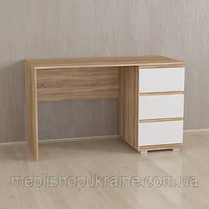 Стол компьютерный на три ящика Корпус-Сонома / Фасад-Белый / Планки-Сонома
