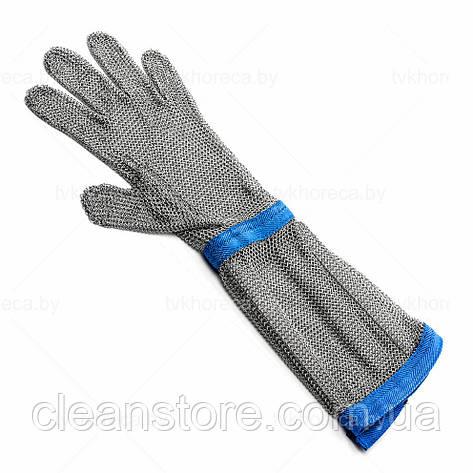 Кольчужна рукавиця з тканинним ремінцем і відворотом 20см Schlachthausfreund(Німеччина), фото 2
