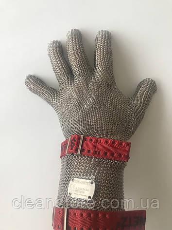 Кольчужна рукавиця з тканинним ремінцем і відворотом 8см Schlachthausfreund (Німеччина), фото 2