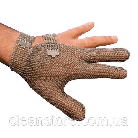 Кольчужная перчатка 3-х палая Schlachthausfreund (Германия) с металлической застежкой, фото 2