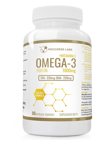 Омега 3 PROGRESS LABS - Omega 3 1000mg + Vit E - 90caps