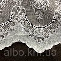 Красивый белый тюль из льна с вышивкой на метраж, высота 3 м, фото 2