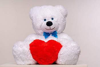 Плюшевый мишка с сердечком Yarokuz Джеймс 65 см Белый