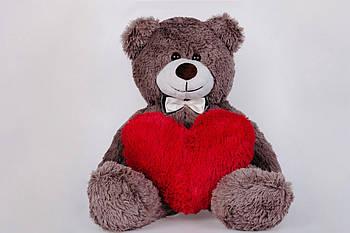 Плюшевый медведь с сердечком Yarokuz Джимми 90 см Капучино