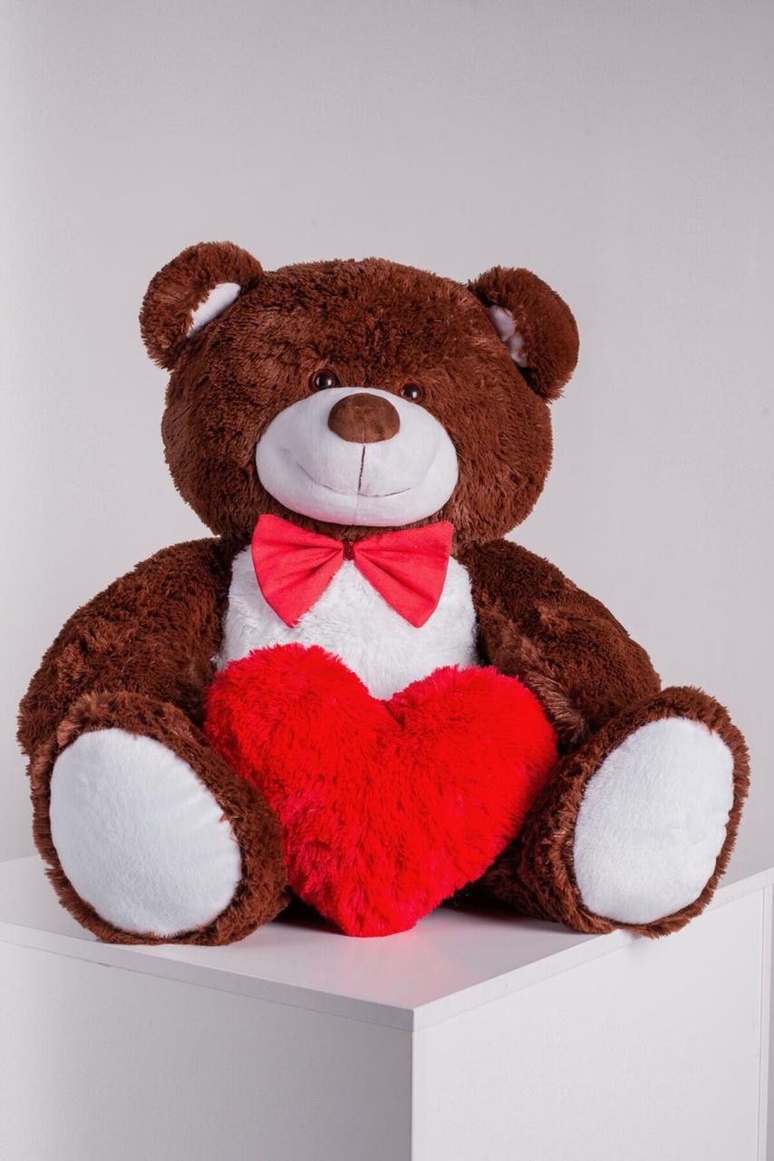 Мишка с сердечком Yarokuz Джон 110 см Шоколадный
