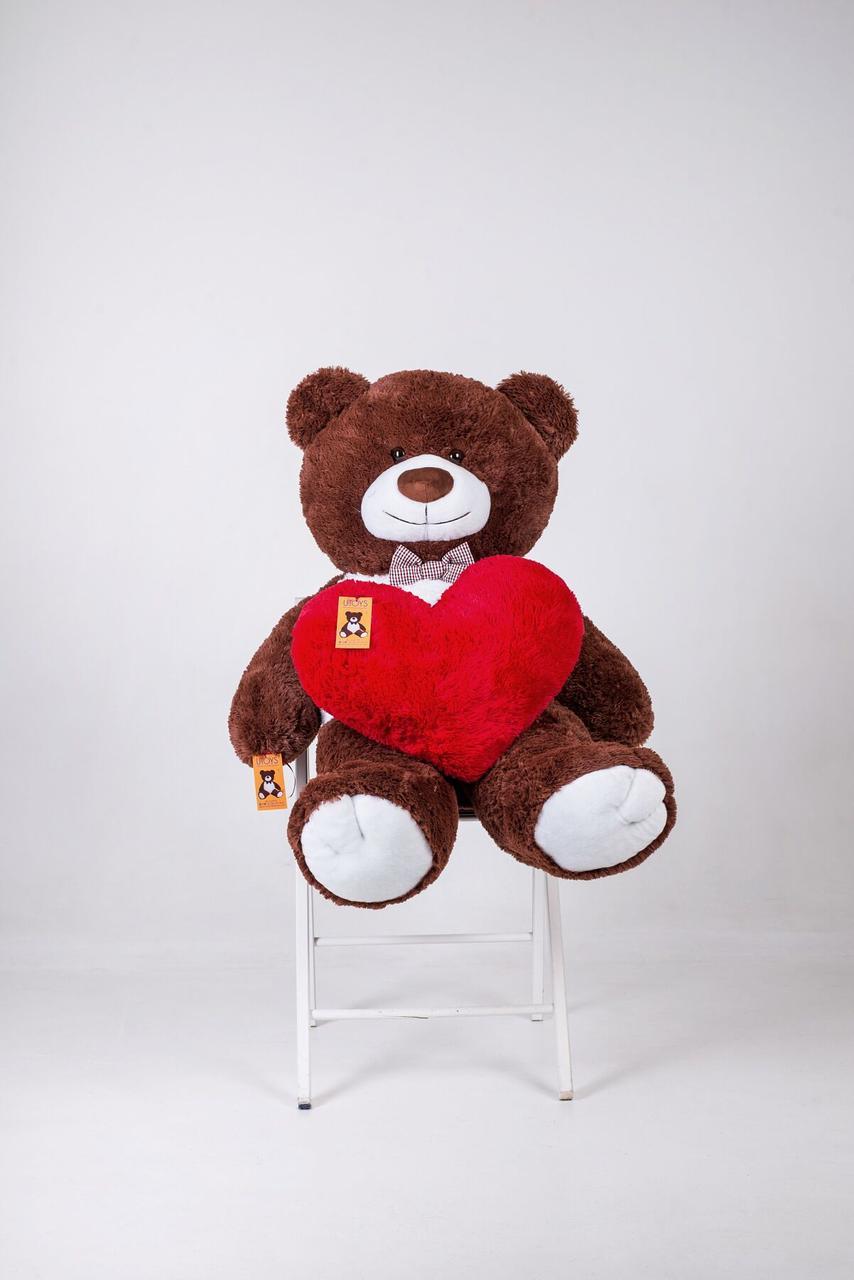 Плюшевый мишка с сердцем Yarokuz Бенжамин 135 см Шоколадный