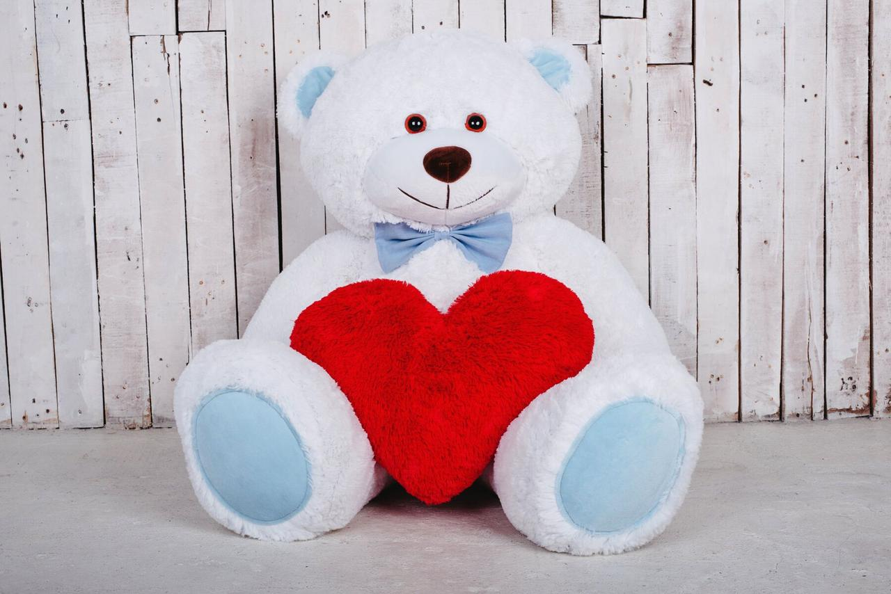 Большая мягкая игрушка мишка с сердцем Yarokuz Билли 150 см Белый
