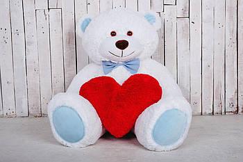 Велика м'яка іграшка ведмедик з серцем Yarokuz Біллі 150 см Білий