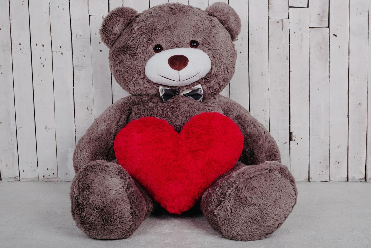 Большой плюшевый медведь с сердцем Yarokuz Джеральд 165 см Капучино