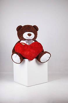 Великий плюшевий ведмідь з серцем Yarokuz Джеральд 165 см Шоколадний