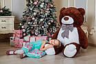 Большой плюшевый медведь с сердцем Yarokuz Джеральд 165 см Шоколадный, фото 4
