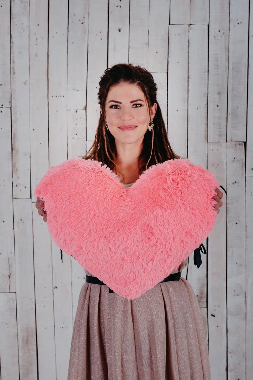 """Мягкая игрушка Yarokuz подушка """"Сердце"""" 50 см Розовая"""
