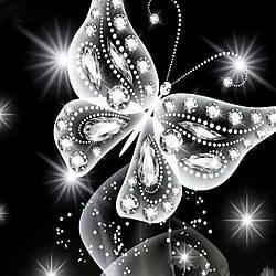 Алмазная Мозаика Бабочка Black & White Набор Вышивки Камнями DIY-6511-2 30x30 см