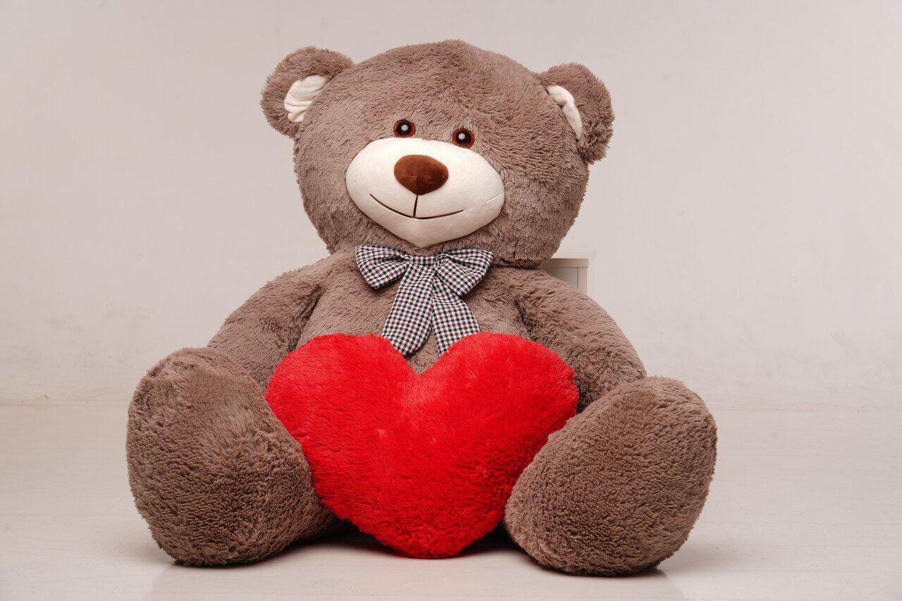 Велика м'яка іграшка ведмедик з серцем Yarokuz Біллі 150 см Капучіно