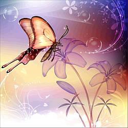 Алмазная Мозаика Бабочка на Лилии Набор Вышивки Камнями DIY-7127 30x30 см
