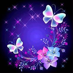 Алмазная Мозаика Бабочки и Звезды Набор Вышивки Камнями DIY-7137 30x30 см
