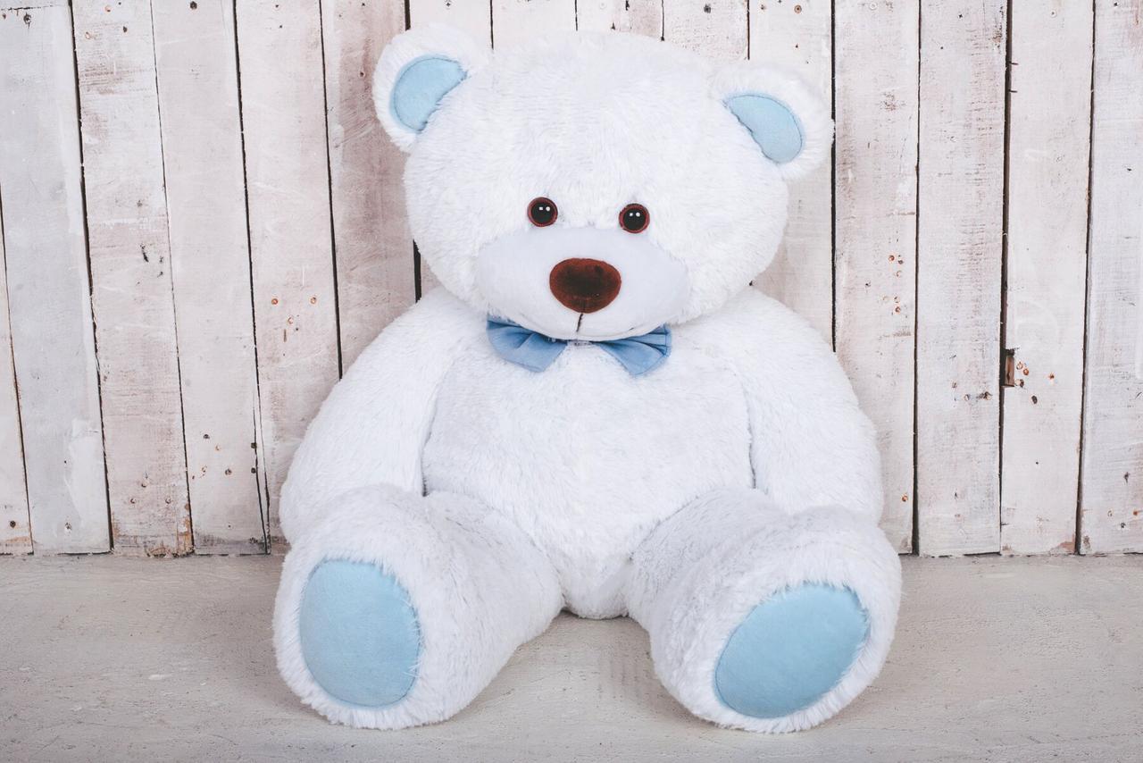 Мишка плюшевый Yarokuz Джон 110 см Белый с голубым