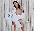 Мишка плюшевый Yarokuz Джон 110 см Белый с голубым, фото 4
