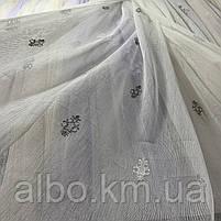 Красивый кремовый тюль из льна с вышивкой серого и кремового  цвета на метраж, высота 3 м, фото 3