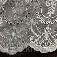 Красивый кремовый тюль из льна с вышивкой серого и кремового  цвета на метраж, высота 3 м, фото 2