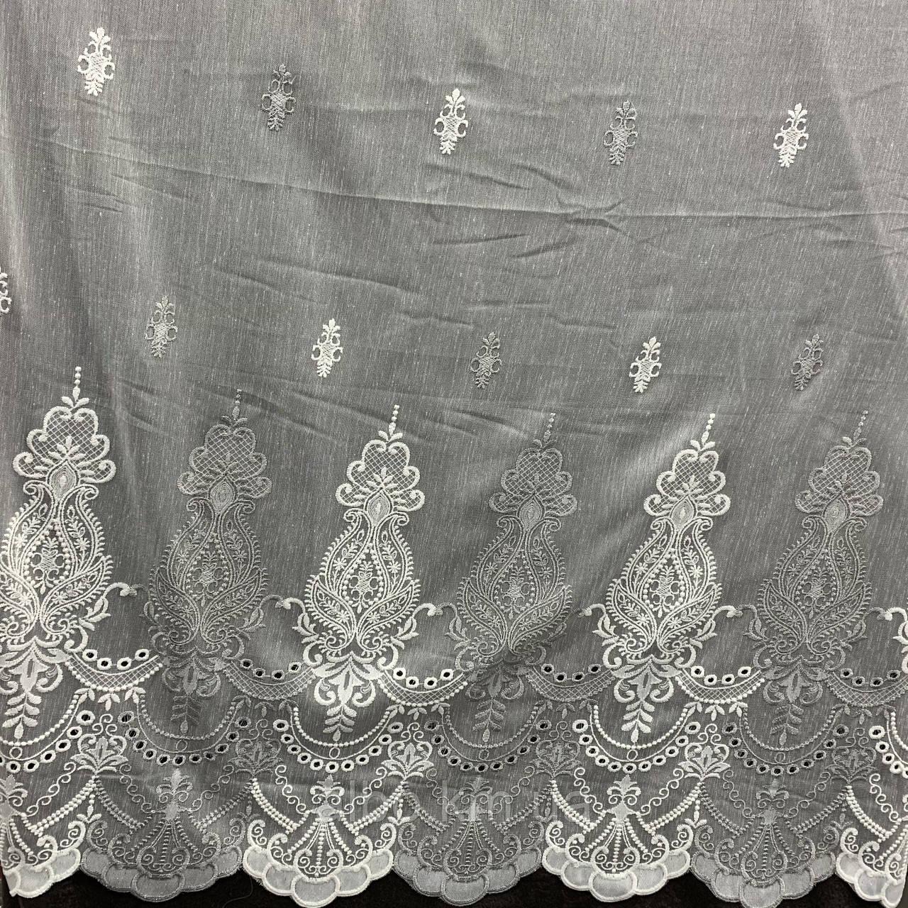 Красивый кремовый тюль из льна с вышивкой серого и кремового  цвета на метраж, высота 3 м