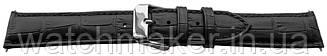 Черный кожаный ремешок для наручных часов с фактурой под крокодила,  22 мм (20мм)